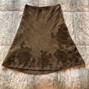 Express Brown Floral Appliqué A-line skirt. Sz 7/8